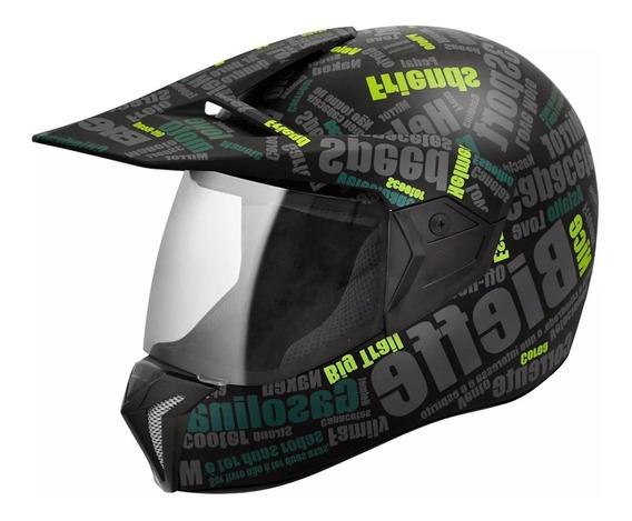 Capacete Bieffe 3 Sport Mirror - Preto Fosco Com Verde