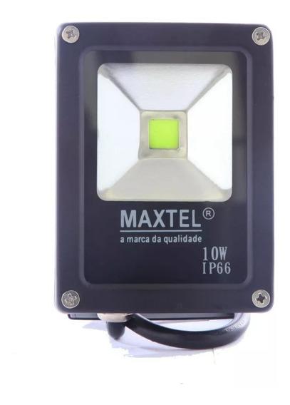 Refletor Led 10w Holofote Maxtel Branco Frio Ip66