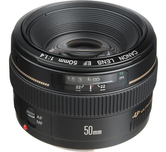 Lente Canon Ef 50mm F/1.4 Usm 12xsem Juros 1 Ano De Garantia