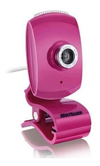 Webcam Facelook Com Microfone Usb Rosa Wc048 Multilaser