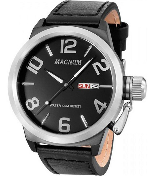 Relógio Magnum Ma33399t Calendario Pulseira Couro Grande