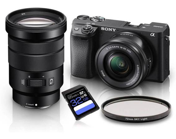 Kit Sony A6400 Mirrorless + Lentes Sony E 16-50mm E Pz 18-105mm Oss + Filtro Skylight 72mm + Sdxc 32gb