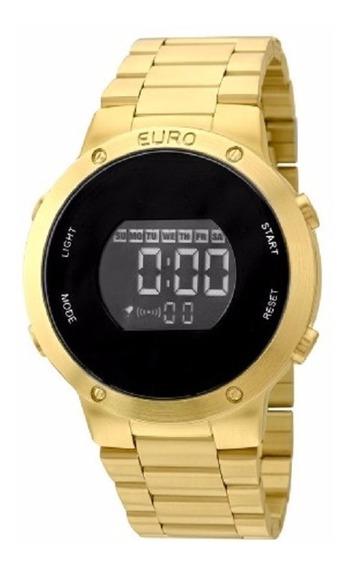 Relógio Feminino Dourado Ouro 18k Euro Digital Original