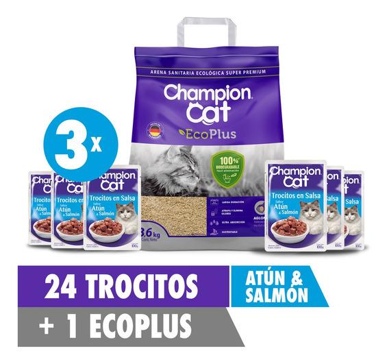 Promo 24 Sobres Alimento Para Gato Trocitos Champion + Arena