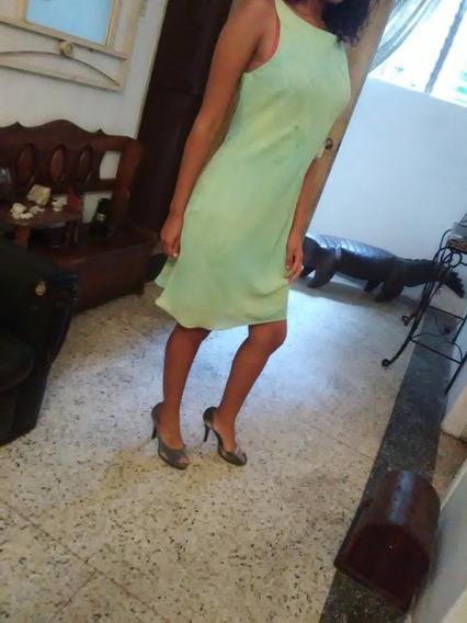 Hermoso Vestido Corto Verde Casual Chifon