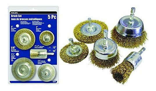 5pc Crimped Wire Drill Attachment Brush Kit - 1 4 Hex Shan