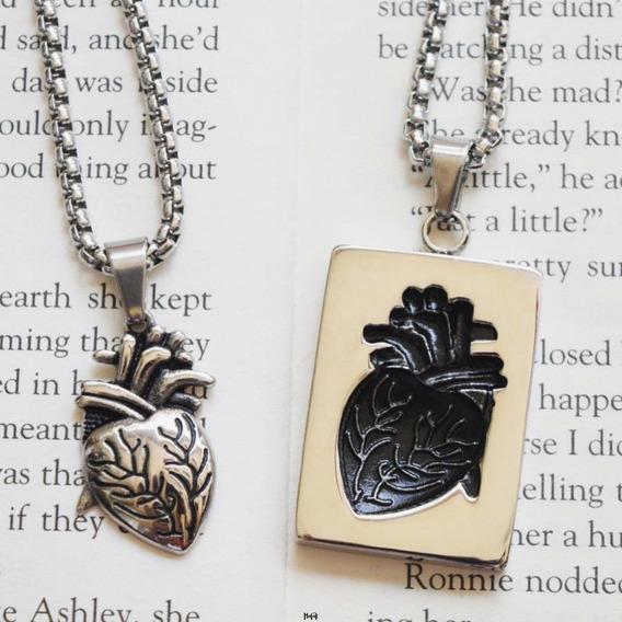 Set Collares Corazón Acero Inoxidable Pareja Bff Novios