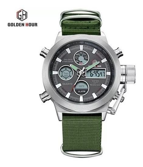Relogio Militar Digital Analógico Golden Hour Gh-103c Barato