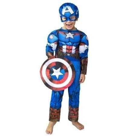 Disfraz Capitan Amerca Marvel Avengers Con Músculos (talle1)