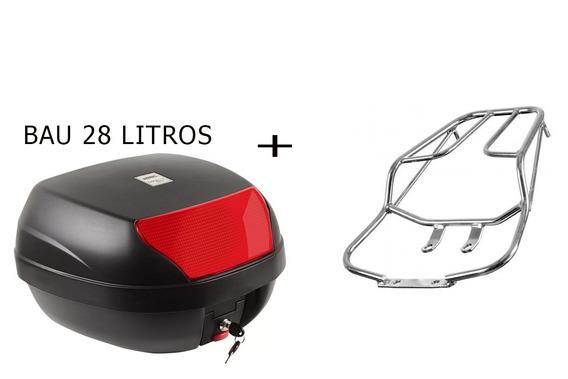 Baú Bauleto Para Moto 28 Litros+ Bagageiro Titan/fan150 2009