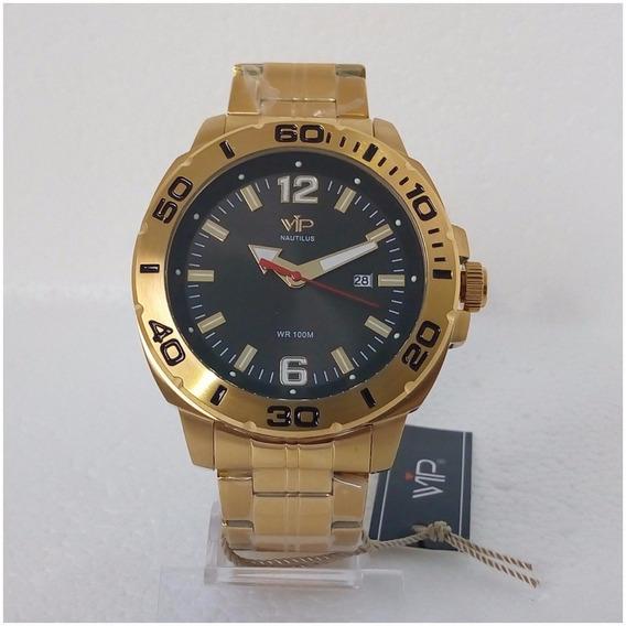 Relógio Masculino Vip Nautillus Dourado Original Prova Dágua