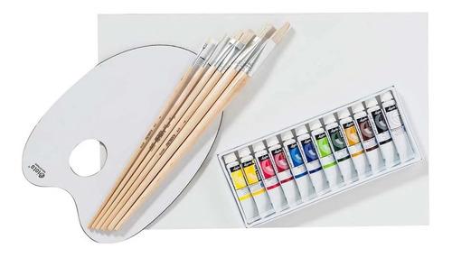 Kit De Arte. Oleo, Pinceles Y Paleta