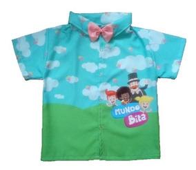 Camisa Infantil Social Temática Mundo Bita Menino - Roupa