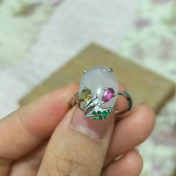 Anel , Jade Com Prata925 E Pedras Naturais
