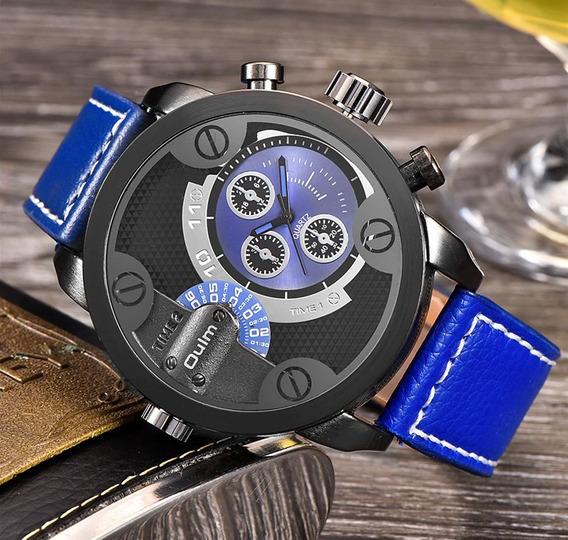 Relógio De Pulso Quartzo - Oulm Militar Cailuxe - Azul