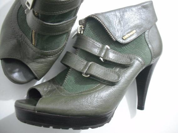 Sandalia Ankle Boot Couro Verde Luz Da Lua Tam 37