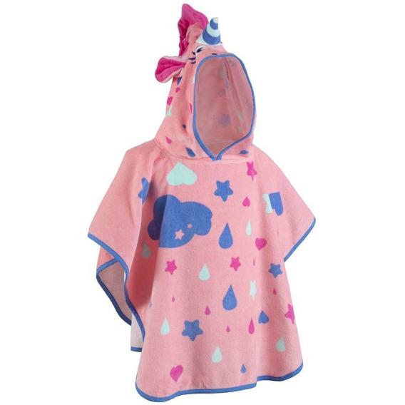 Poncho Bebé Con Capucha Rosa Estampado Unicornio Nabaiji