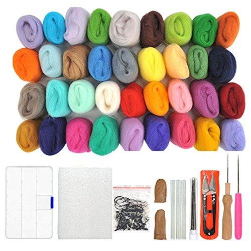 Wowoss 36 Colores Juego De Lana De Fieltro De Aguja Kit De I
