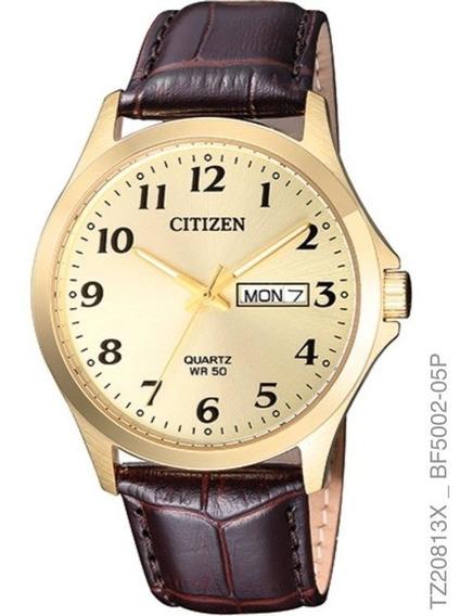 Relógio Citizen Masculino Tz20813x Dourado Couro Analogico