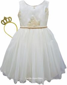 Vestido Bege E Dourado Realeza Infantil Festa Luxo