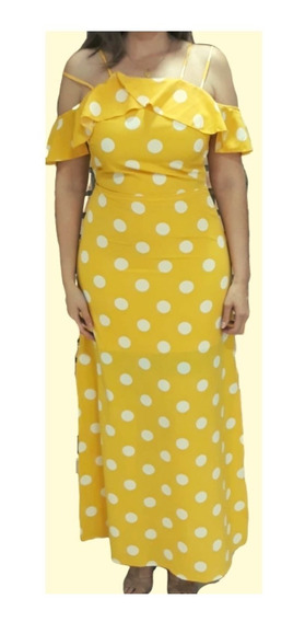 Vestido Longo Poa Feminino Com Fenda Moda Blogueira