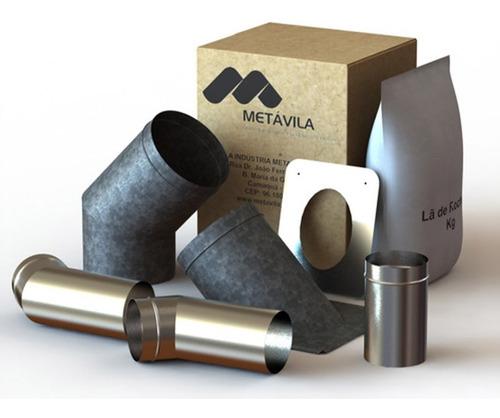 Imagen 1 de 5 de Kit De Caños 250mm Para Calefactor Liv - Salida Pared