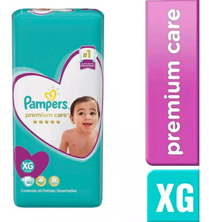 1 Paquete Pañales Pampers Premium Care 60 Unidades Talla Xg