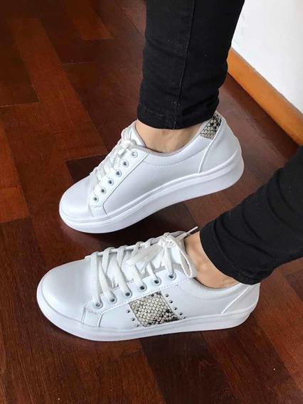 Zapatillas Sneakers Blancas Con Reptil De Cuero Vegano Nueva