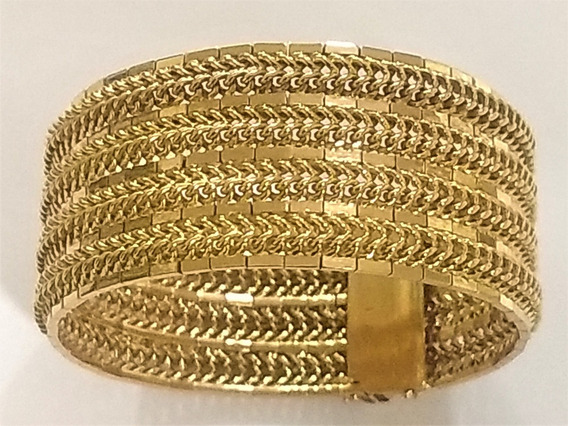 Bracelete Esteira Largo Ouro Amarelo 18 K 720 Pesado 68,6 Gr