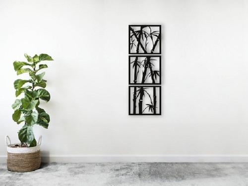 Imagem 1 de 4 de Trio Quadros Bambú Mdf Escultura De Parede Vazada 30cm