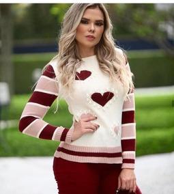 Blusa Feminina De Frio Tricot 2019 Coracao