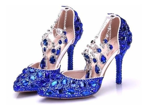 Sapato Azul Com Cristais Chaton Debutante Cinderela Noiva