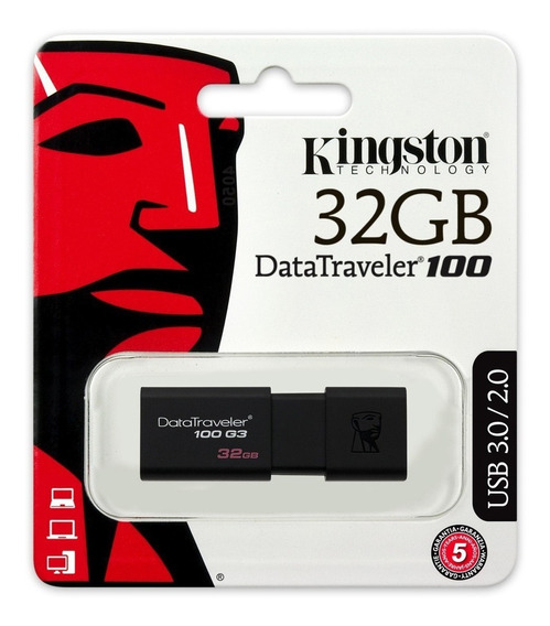 Pen Drive 32gb Kingston Dt100g3 Usb 3.0 Original Lacrado
