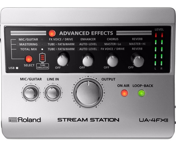 Interface De Áudio Captura Roland Usb Para Streaming Ua 4fx2