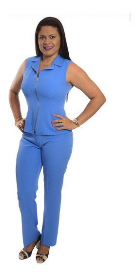 Terninho Social Feminino Regata Uniforme - Azul Aço E Cores