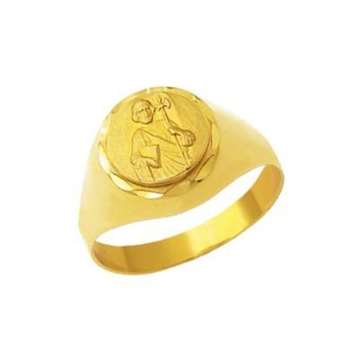 Anel São Judas Redondo Em Ouro 18 Kilates