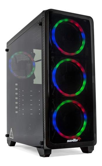 Gabinete Sentey Z20 Lite + 4 Cooler Rgb Vidrio Templado