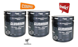 Kit 3 Glutamina 300g - Combo L-glutamina Forceup 300g