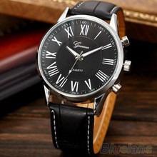 Moda Roman Dial Relógio Dos Homens De Couro Elegante Preto