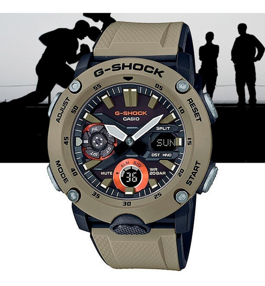 Relógio Casio G-shock Carbon Core Guard Ga-2000-5adr Caqui