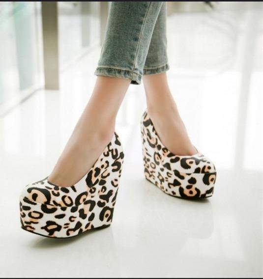Sapato Feminino Importado Salto Anabela Animal Print
