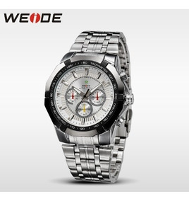 Relógio Masculino Weide De Pulso Aço Inox Prata Importado