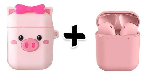 Imagem 1 de 4 de Kit Fone De Ouvido Sem Fio Rosa Com Capa Porquinho Silicone