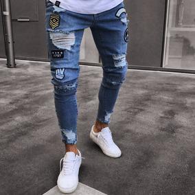 Jeans Chupines Rotos Con Bordados Para Hombre