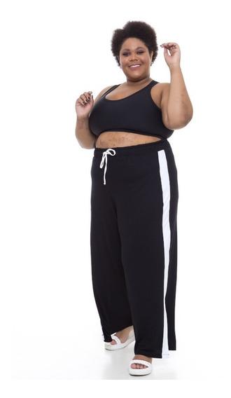 Calça Pantalona Plus Size Wonder Size Visco Preto Com Branco