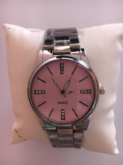 Relógio Feminino Quartz Prata C/ Rosa