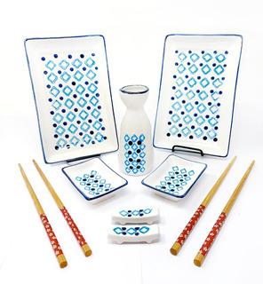 Set Juego Sushi Para 2 Personas Tk De Porcelana 9 Piezas