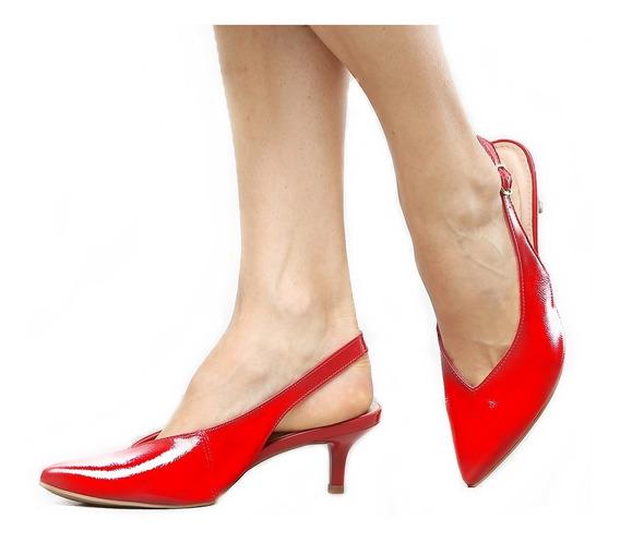Sapato Scarpin Aberto Salto Médio Bico Fino Pronto Entrega
