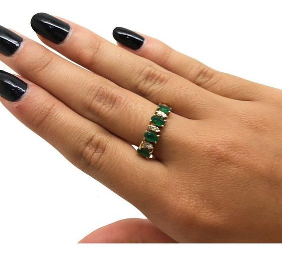Aliança Esmeraldas Ovais Diamantes Oruo 18k 22259 K820