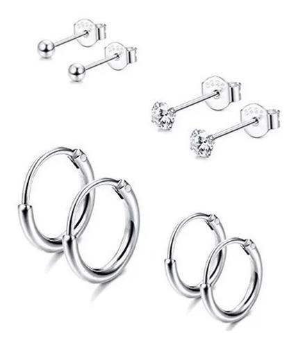 Imagem 1 de 5 de Kit Com 4 Pares De Brincos Cartilagem Piercing Prata 925